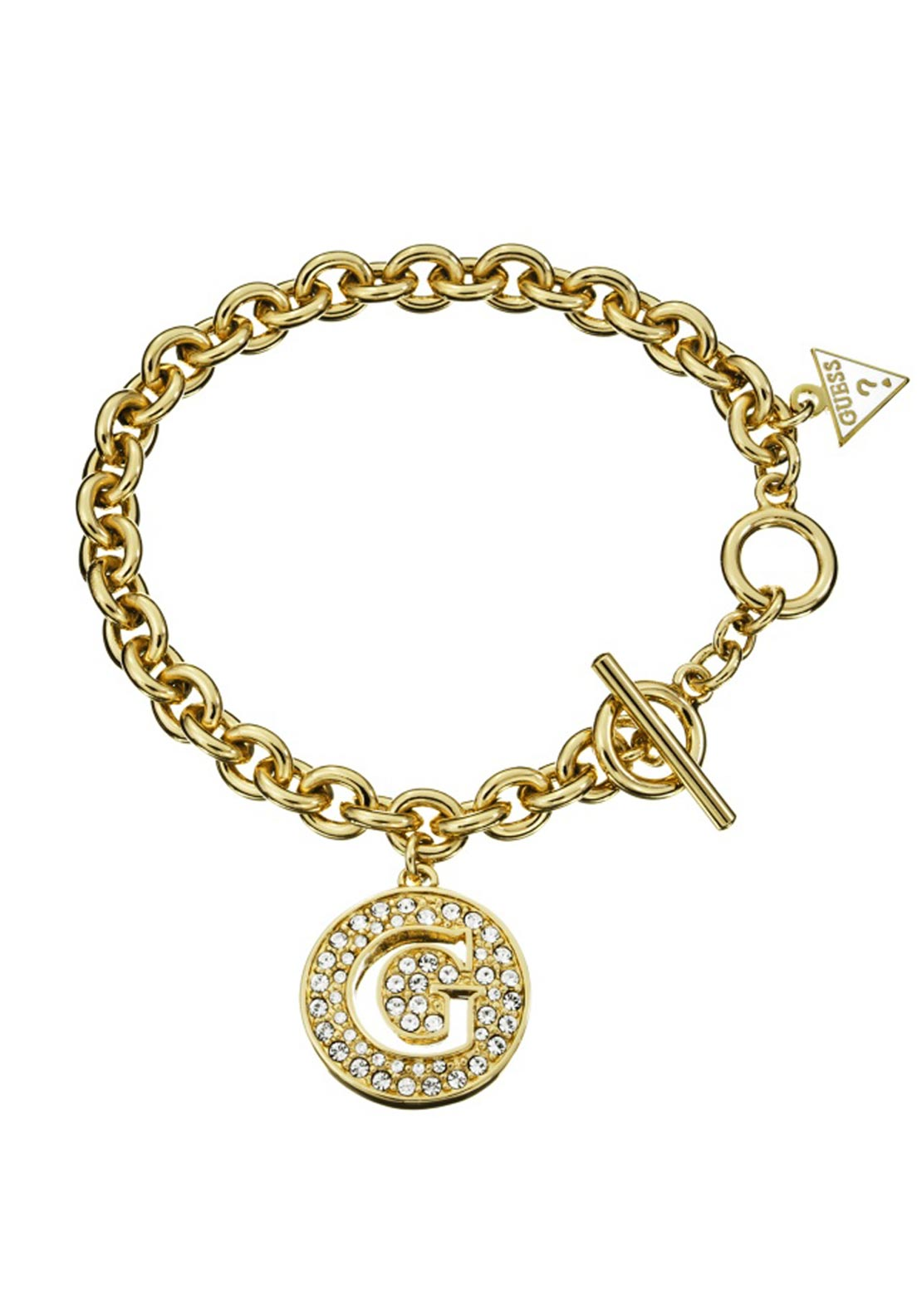 Guess Womens G Crystal Coin Bracelet, Gold