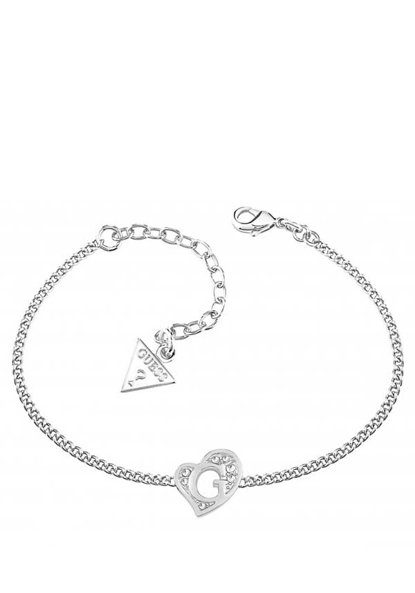 Guess Womens G Heart Mini Bracelet, Silver