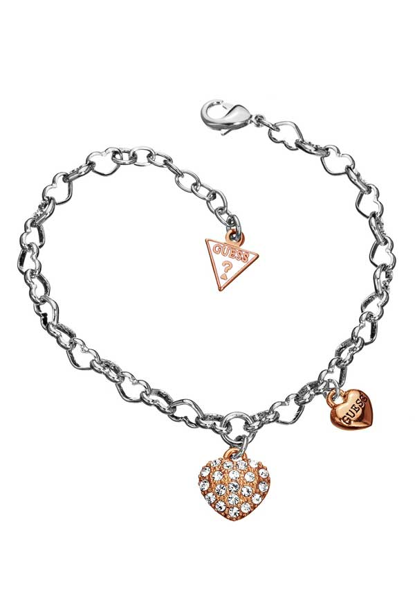 Guess Womens Double Heart Rose Bracelet, Rose Gold