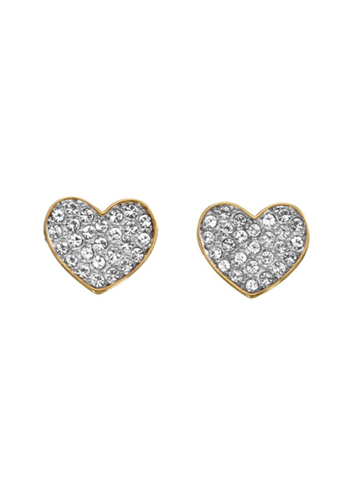 Guess Womens Pave Heart Stud Earrings, Gold
