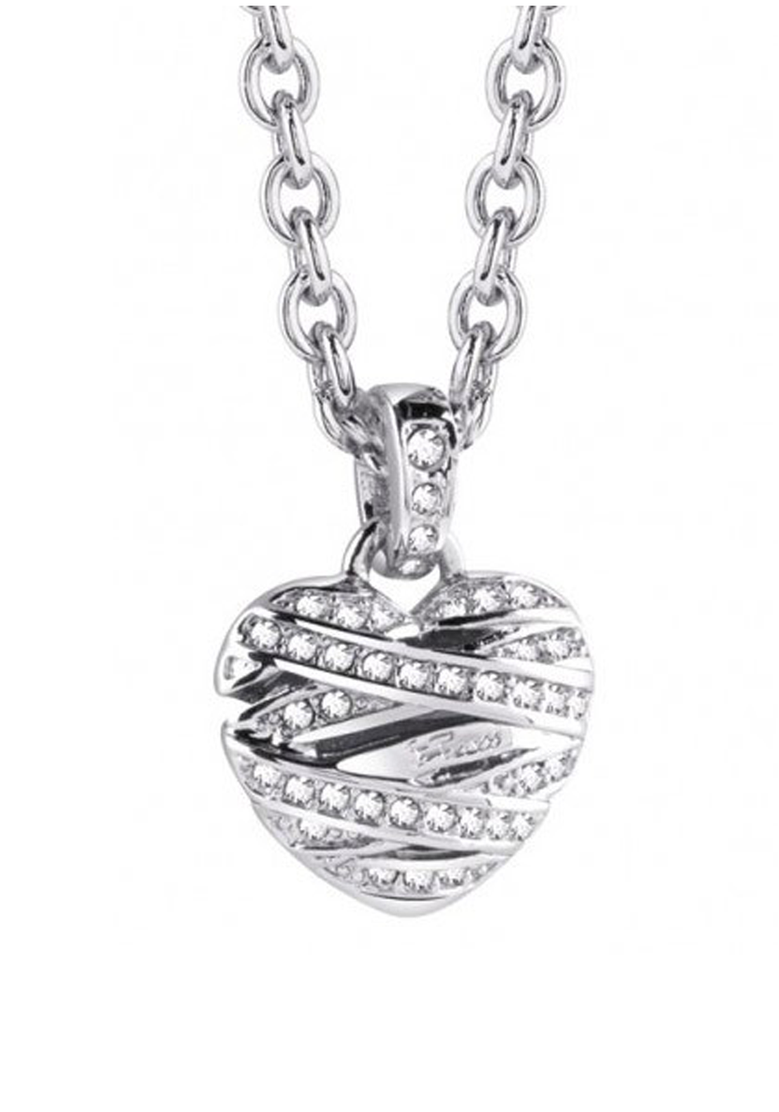 Guess Womens Heart Pendant Necklace, Silver