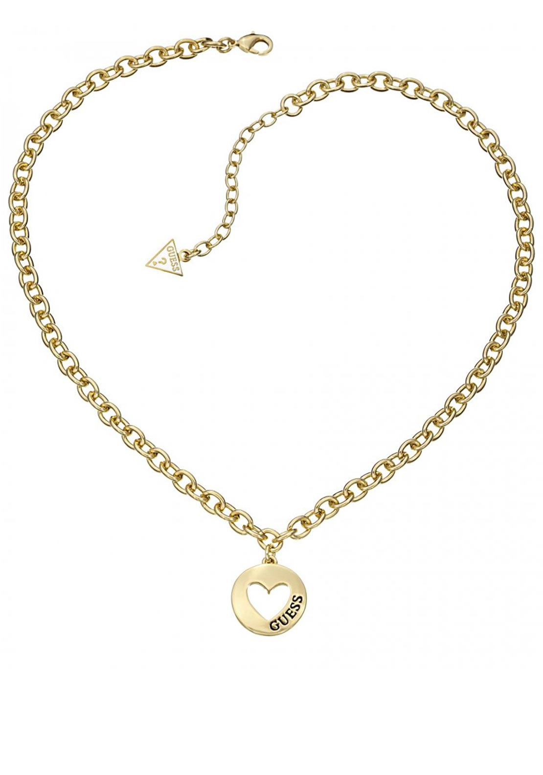 Guess Womens Gold Plated Heart Charm Necklace