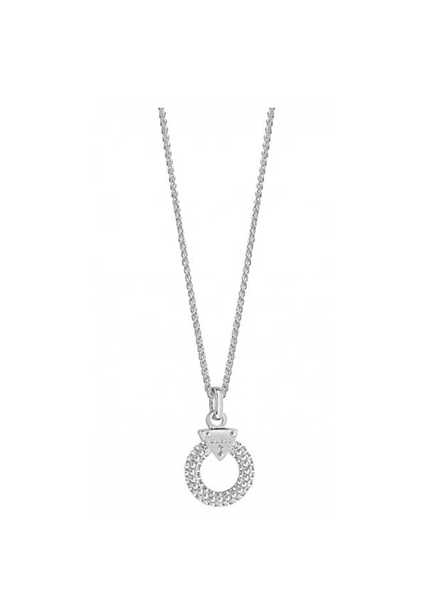 Guess Womens Embrace Me Pave Ring Necklace, Silver