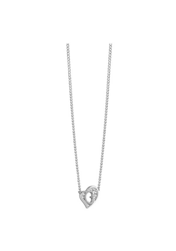 Guess Womens G Heart Mini Necklace, Silver