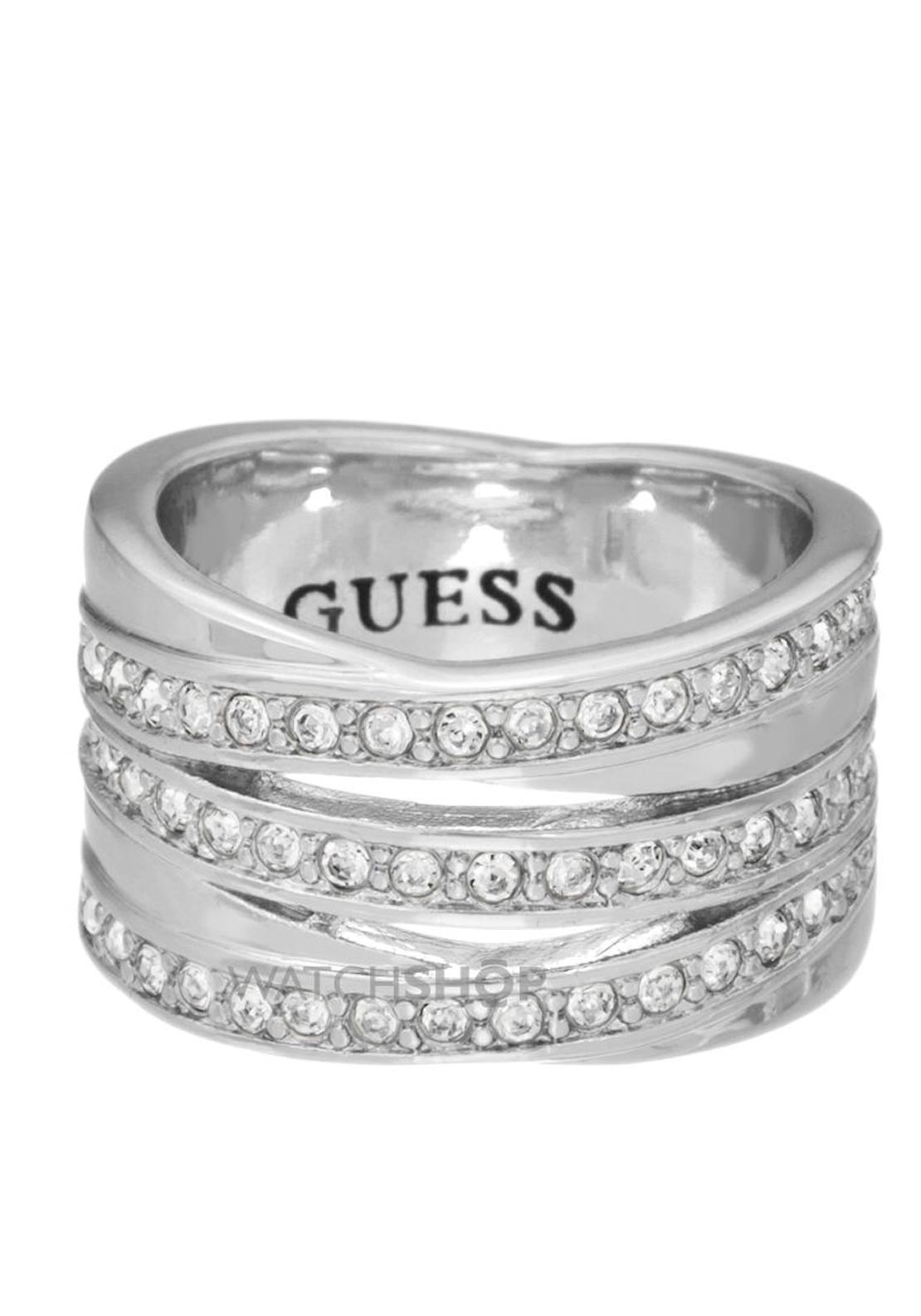 Guess Womens Stainless Steel Crystal Stack Ring