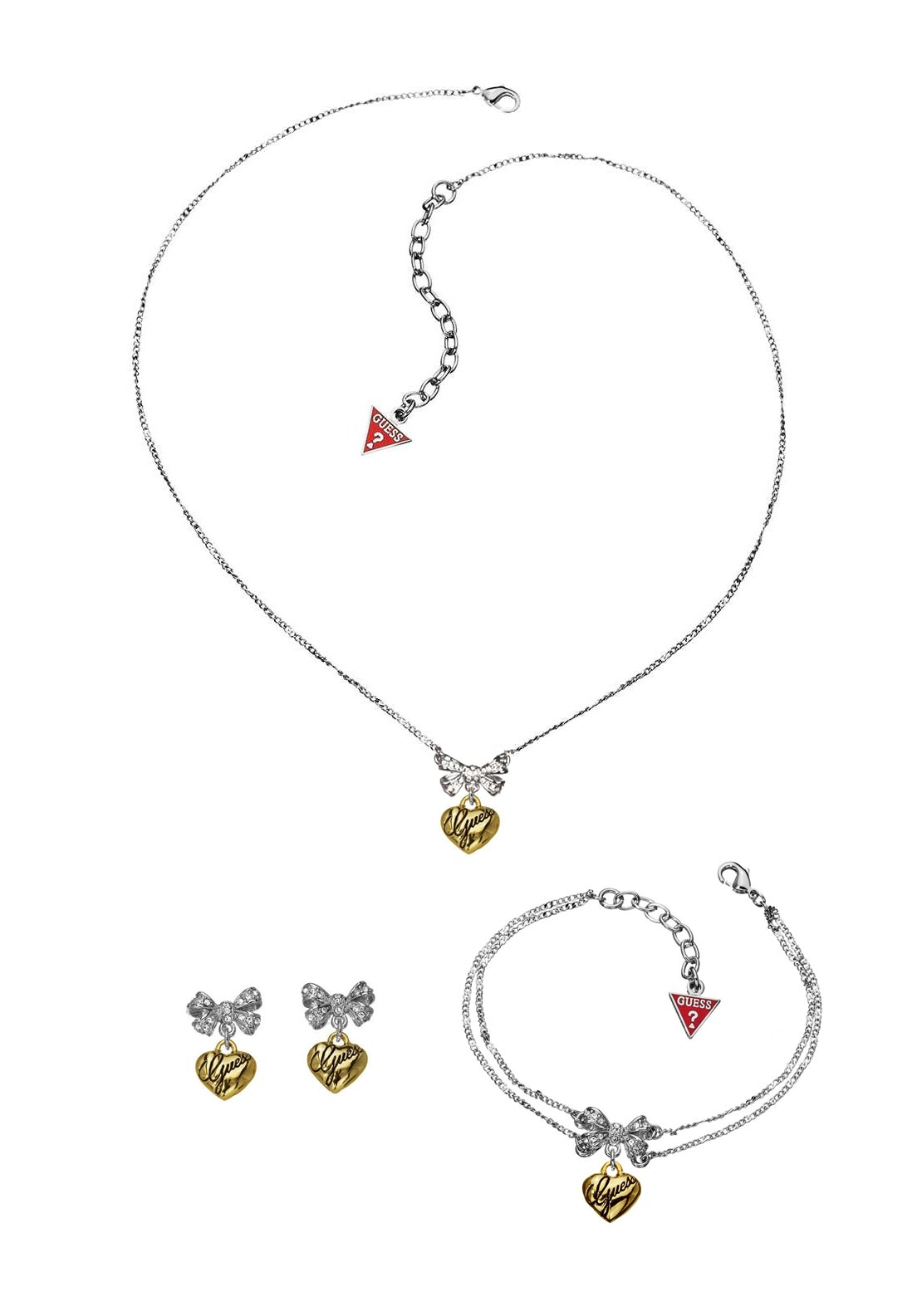 Guess Womens Bow and Hanging Heart three piece Jewellery Set, Silver