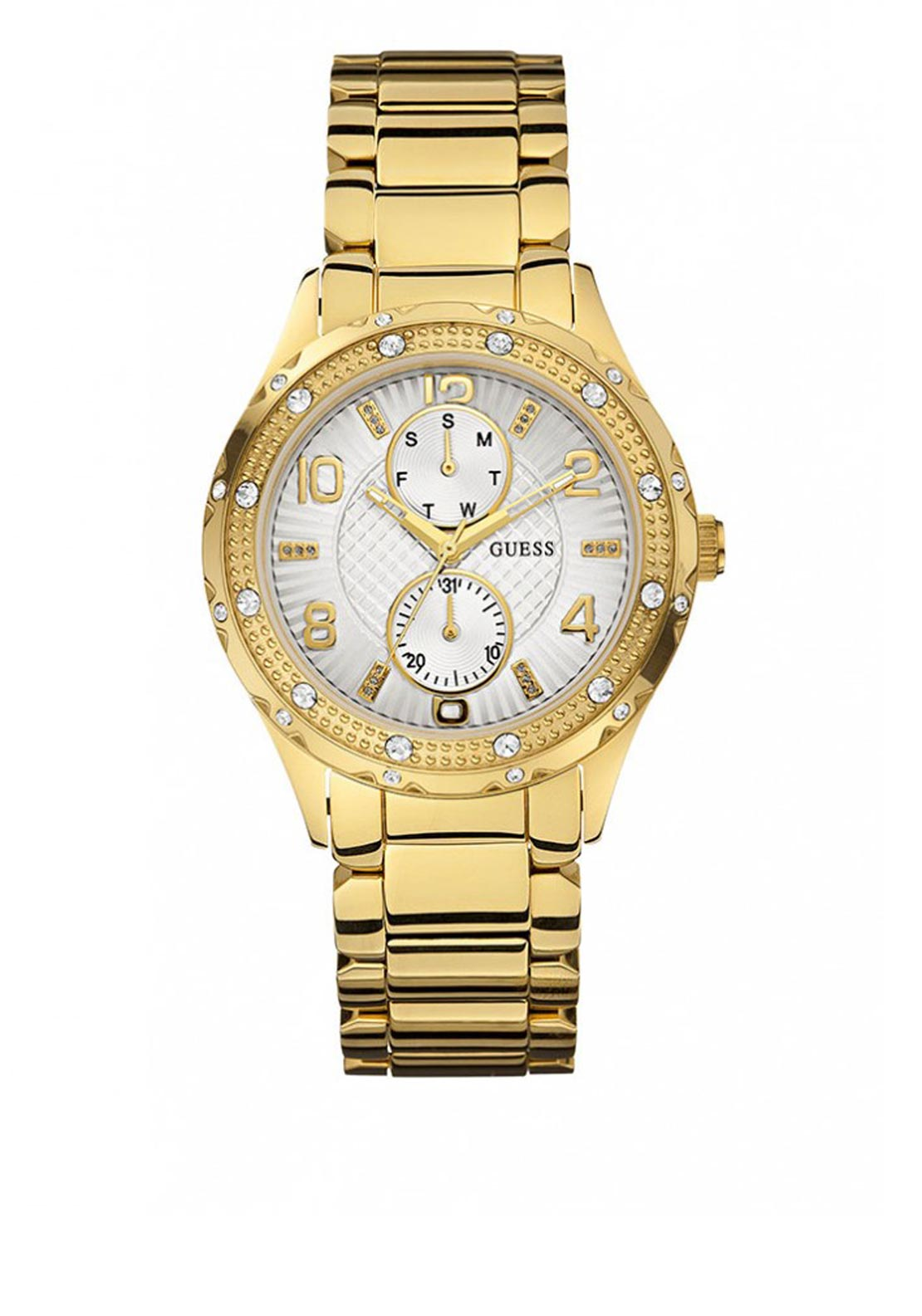 Guess Womens Stone Set Gold Colour Watch