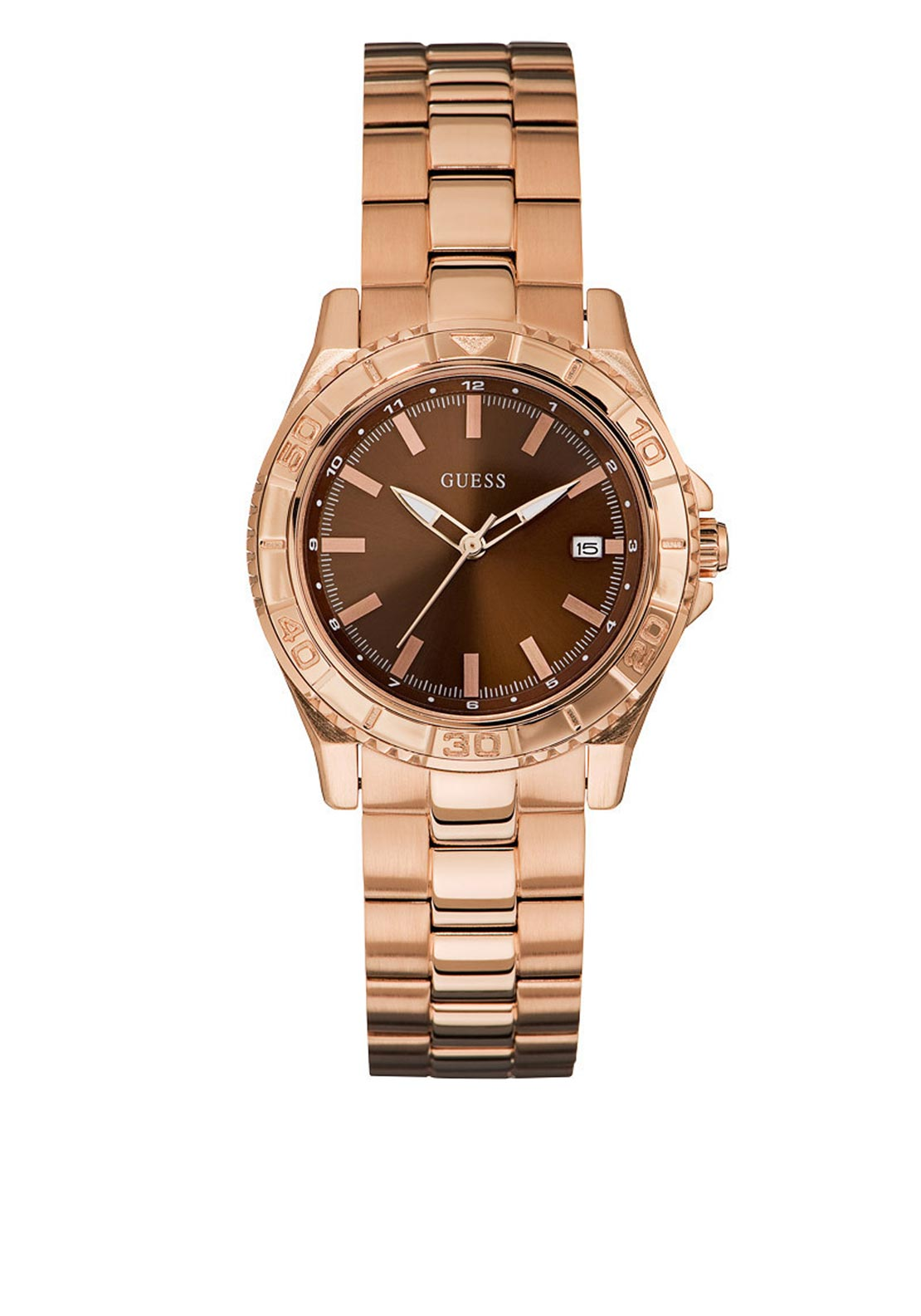 Guess Womens Watch Brown Face and Rose Gold Strap