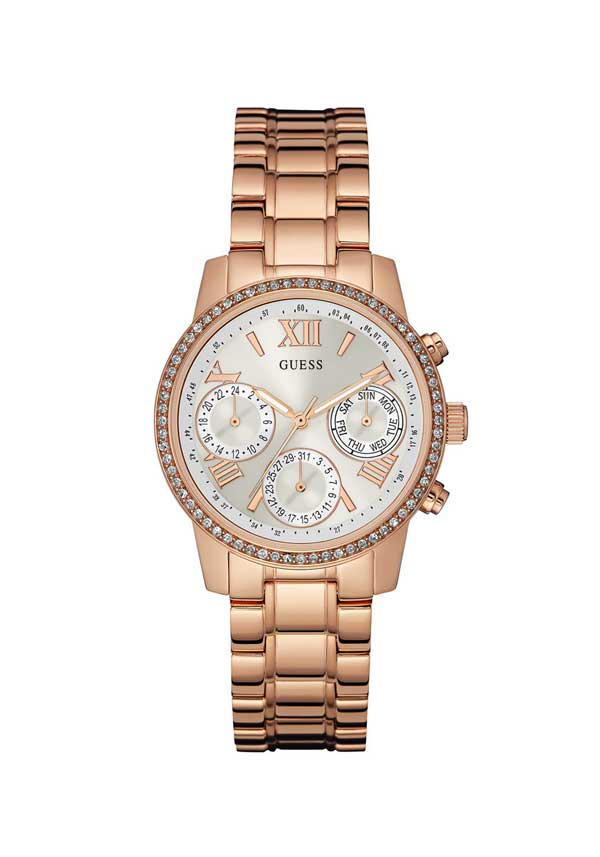 Guess Womens Mini Sunrise Watch, Rose Gold