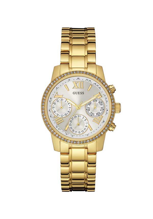 Guess Womens Mini Sunrise Watch, Gold