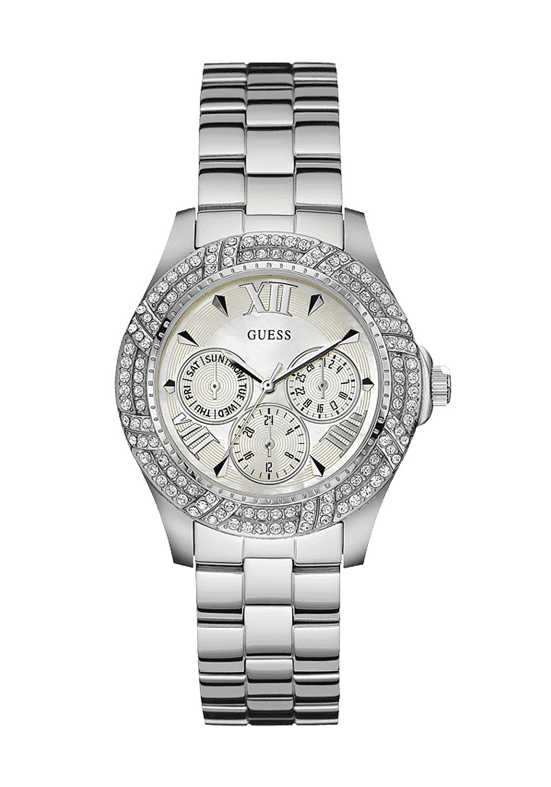 Guess Womens Analog Watch, Silver