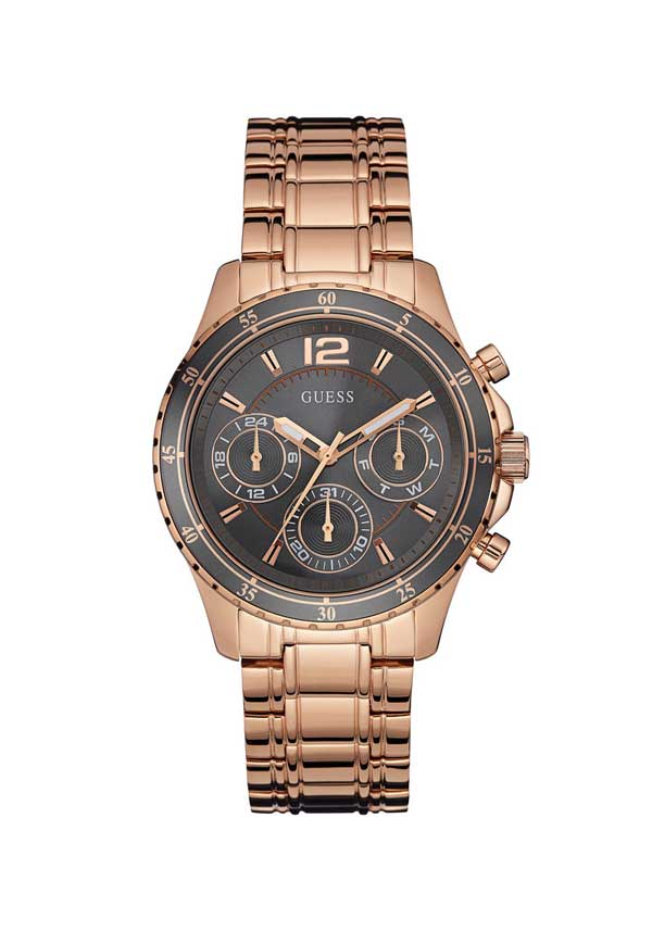 Guess Womens Latitude Watch, Rose Gold