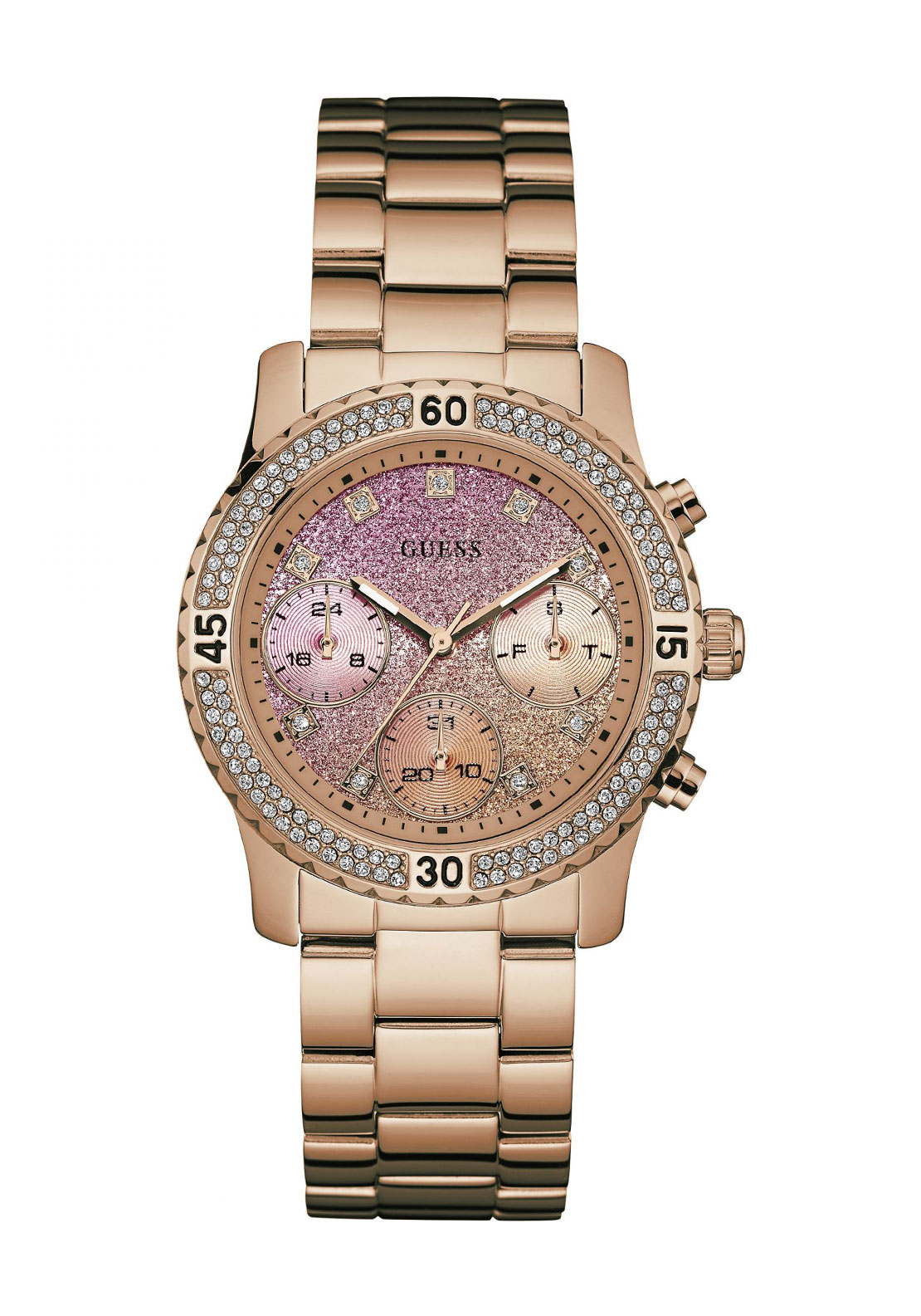 Guess Womens Confetti Watch, Rose Gold
