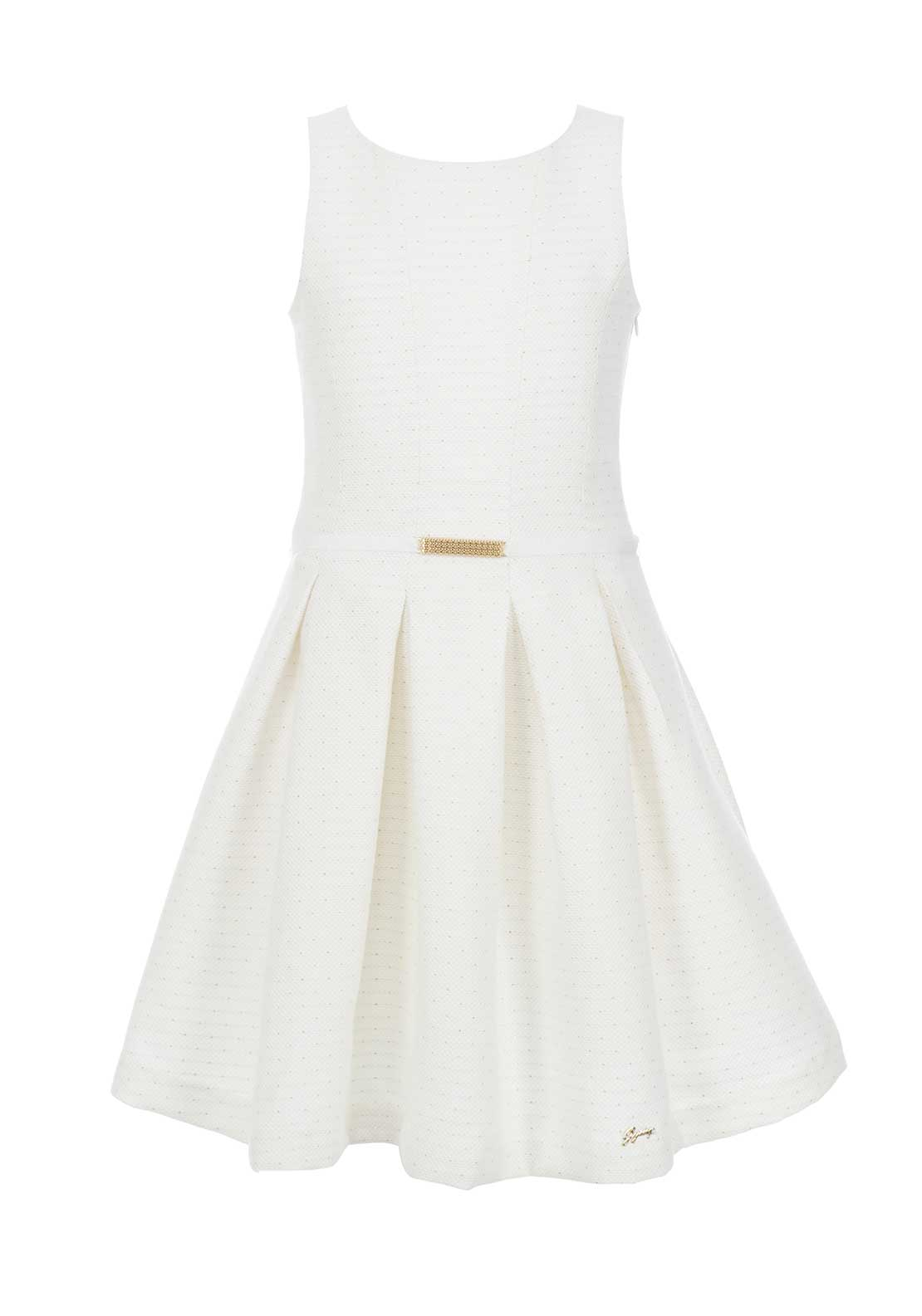 GYMP Girls Embossed Belted Dress, Ivory