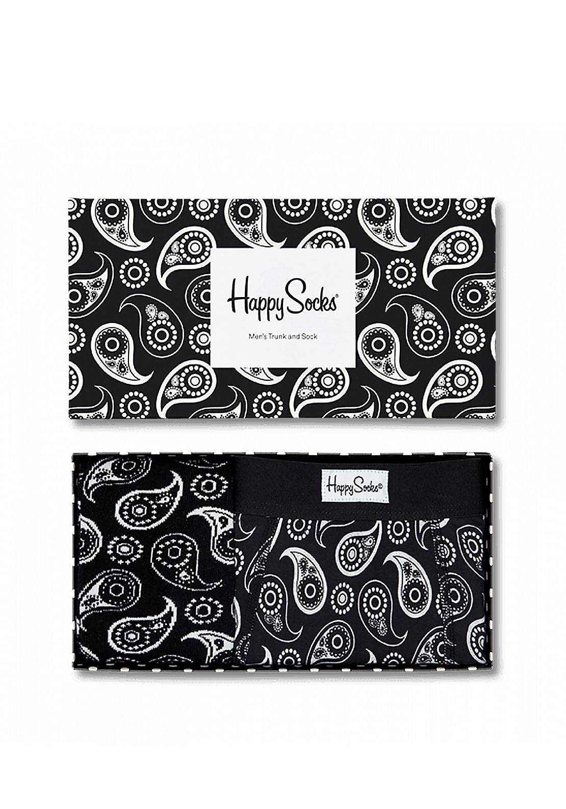 Happy Socks Paisley Boxer & Sock Set, Black