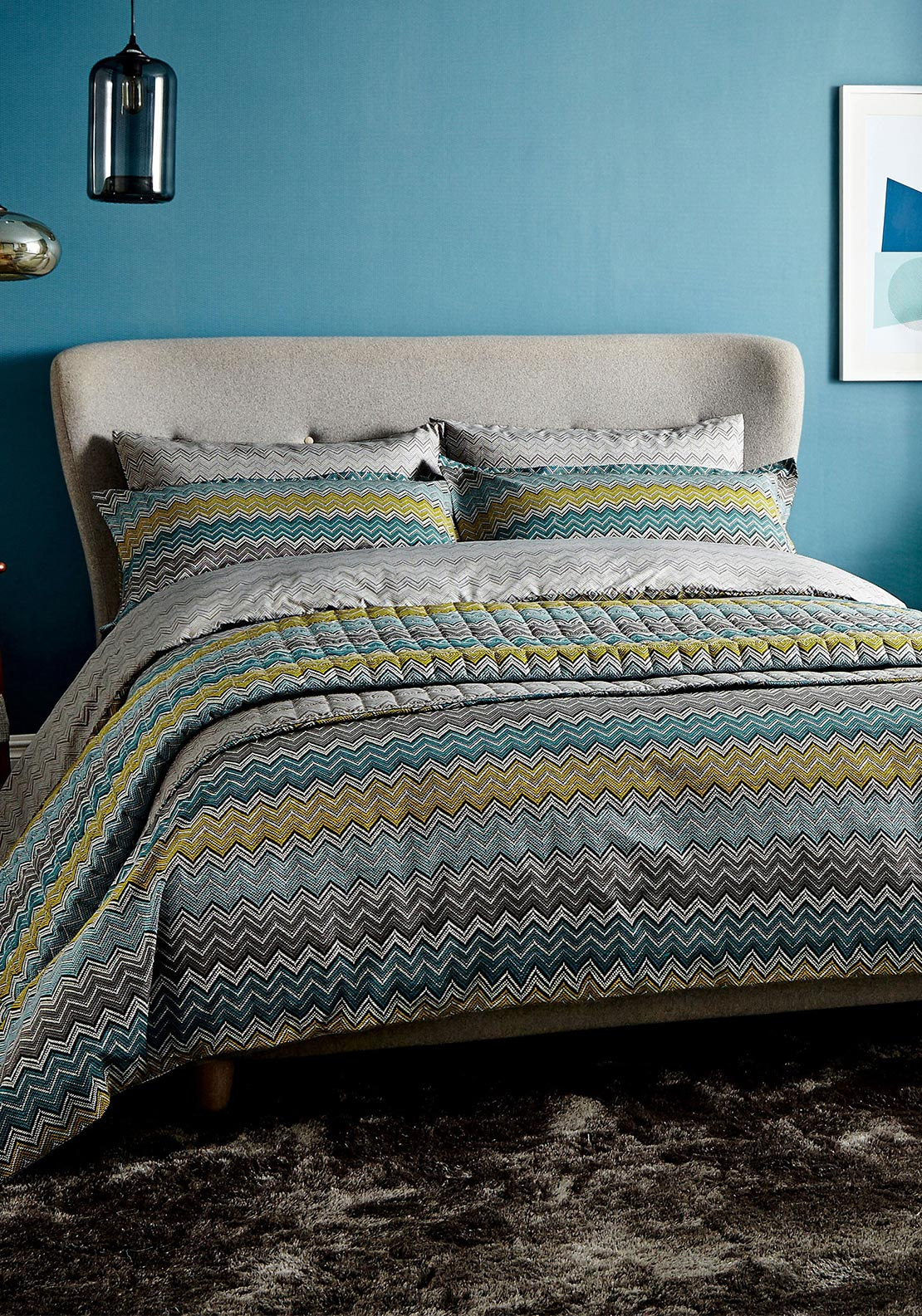 Harlequin Chevron Zig Zag Quilted Throw 265cm x 260cm, Blue