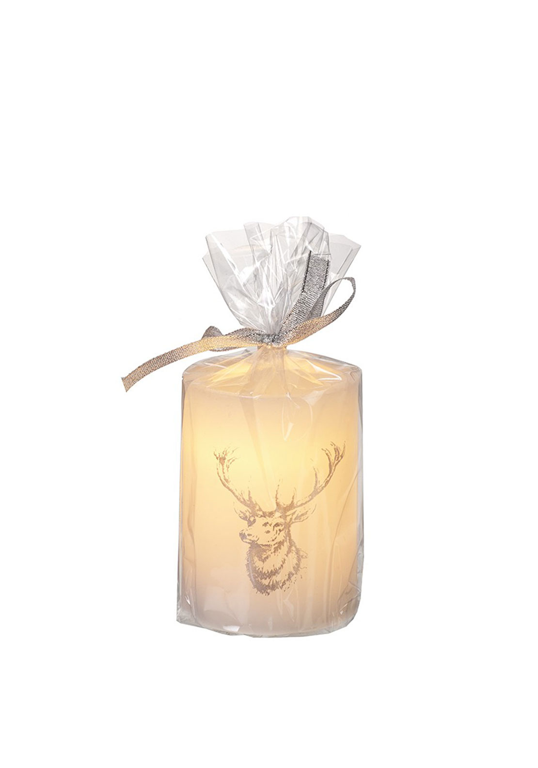 Heaven Sends Christmas LED Pillar Candle with Deer Design