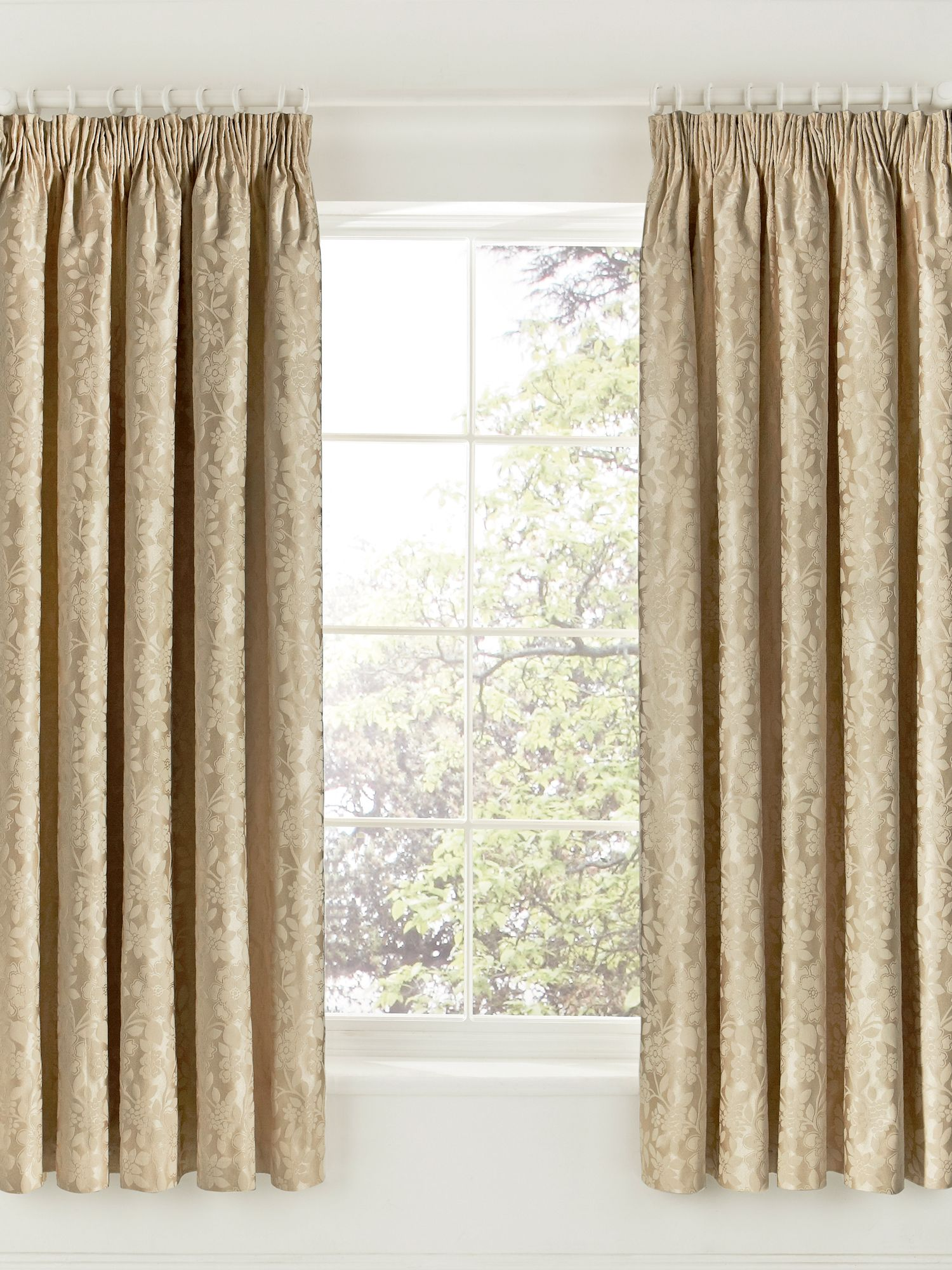 "Helena Springfield Flora Curtains 66"" X 72"", Soft Gold"
