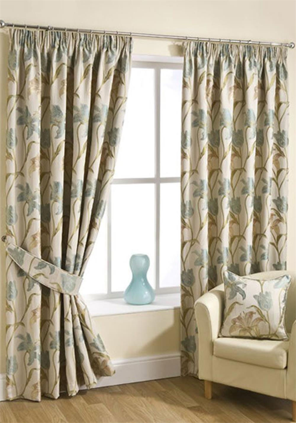 Hickeys Lily Ready Made Pencil Pleat Curtains, Aqua