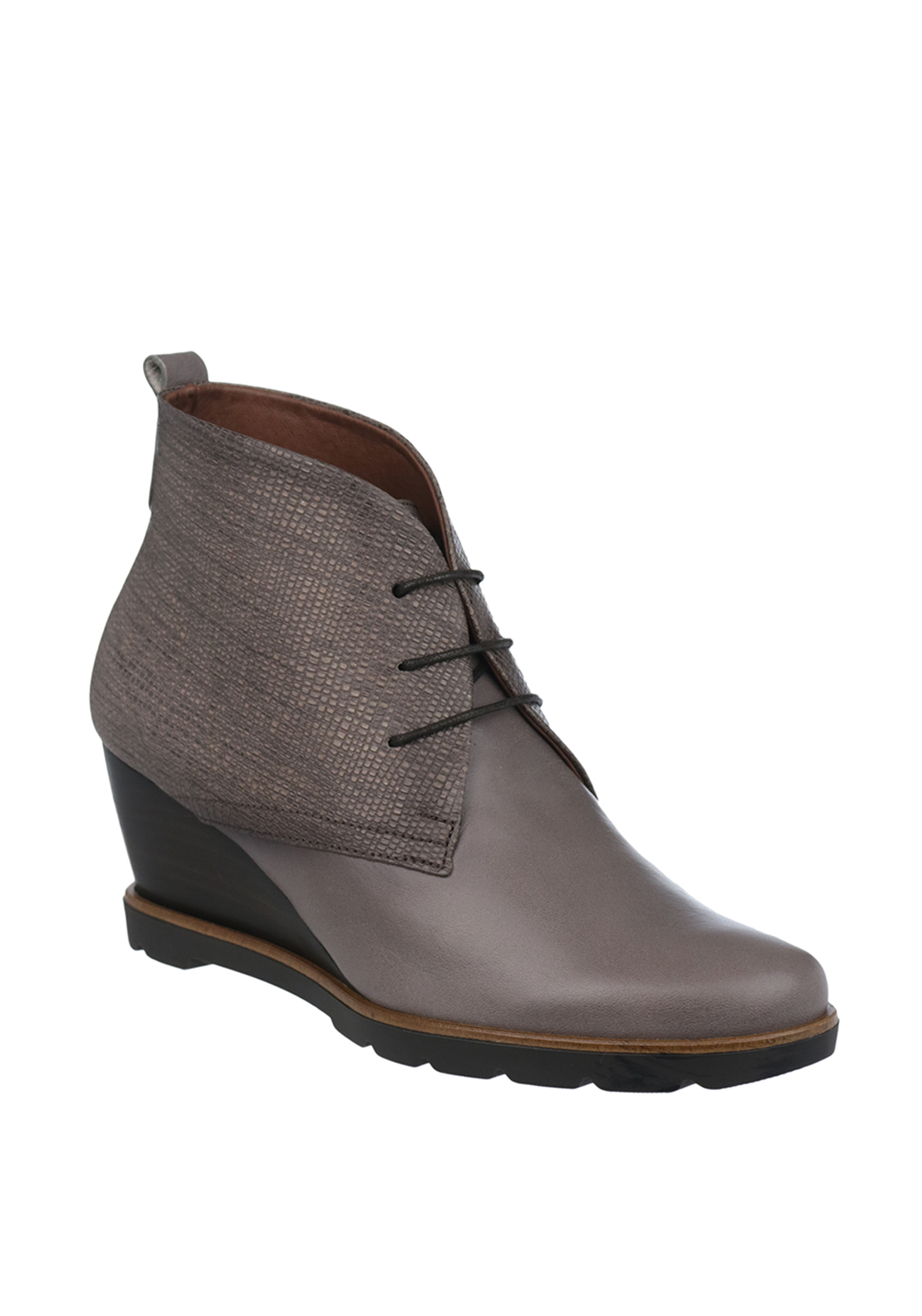 Hispanitas Leather Reptile Laced Wedged Dessert Boots, Grey