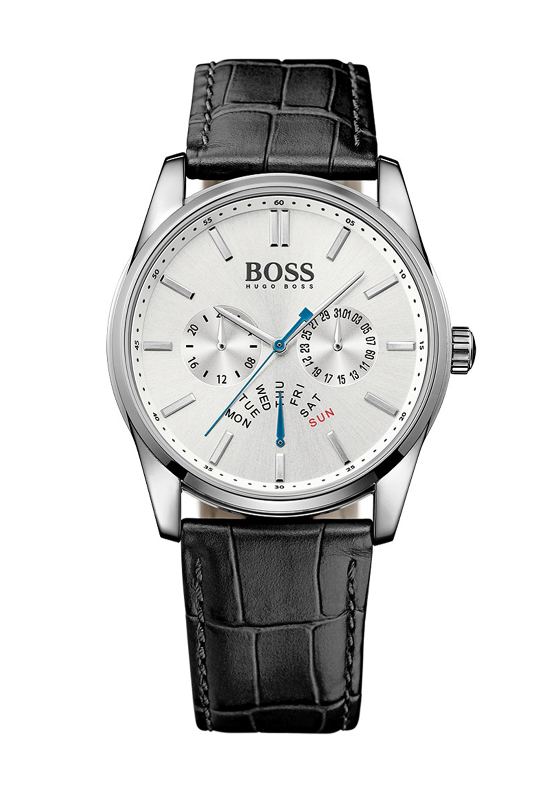 Hugo Boss Mens 1513123 Leather Watch, Black