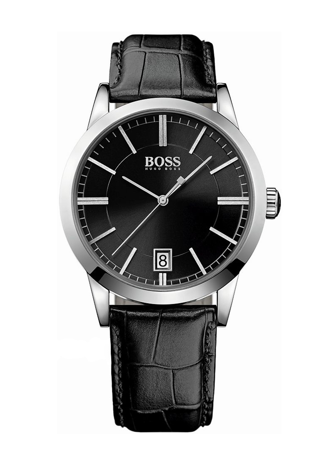 Hugo Boss Mens 1513129 Leather Watch, Black