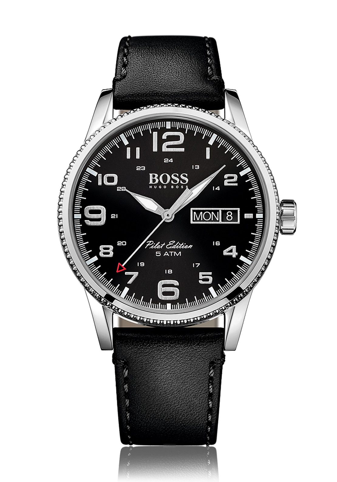 Hugo Boss Mens 1513330 Pilot Edition Leather Watch, Black