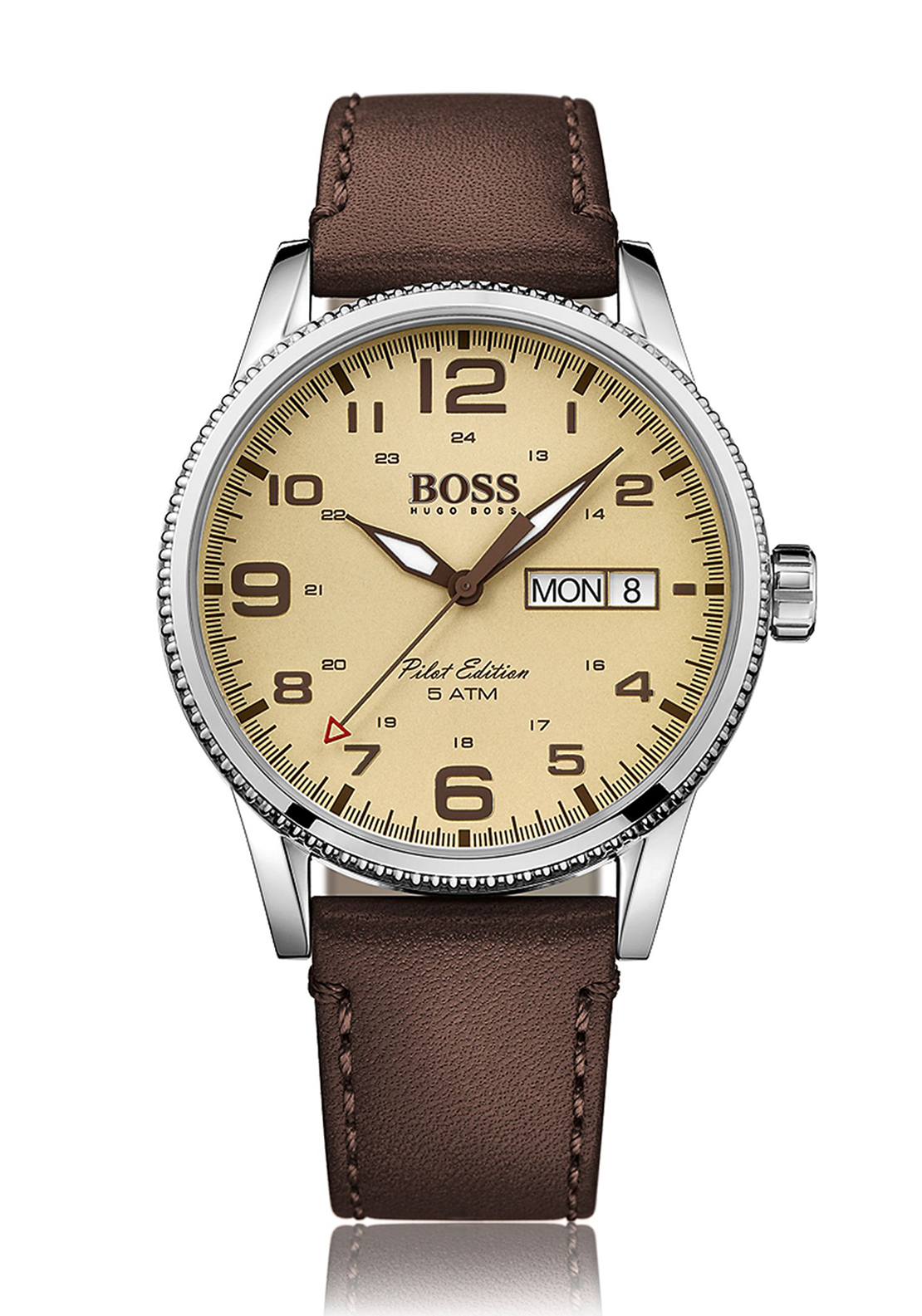 Hugo Boss Mens 1513332 Pilot Edition Leather Watch, Brown
