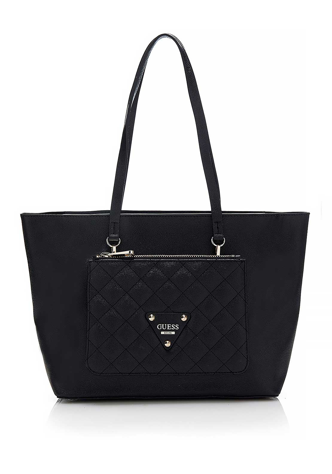 Guess Womens Faux Leather Audrey 2 in 1 Tote Bag, Black