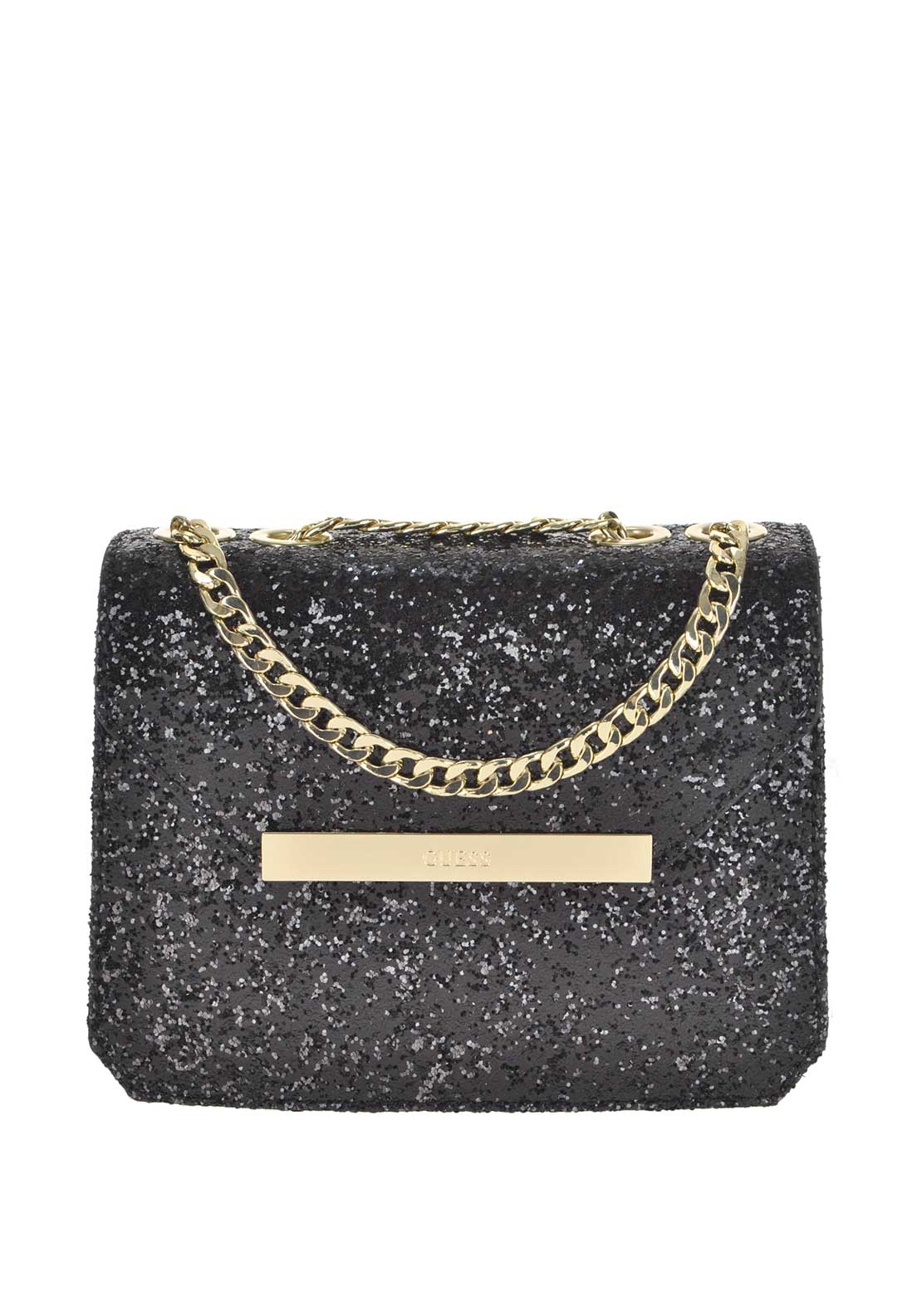 Guess Womens Famous Glitter Crossbody Bag, Black