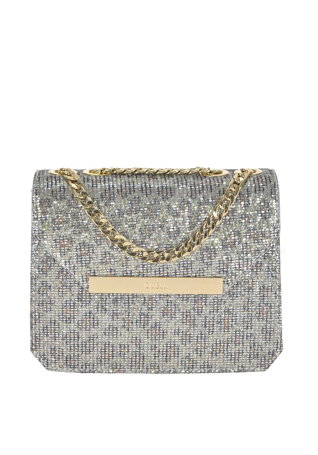 Guess Womens Famous Glitter Crossbody Bag, Silver Leopard