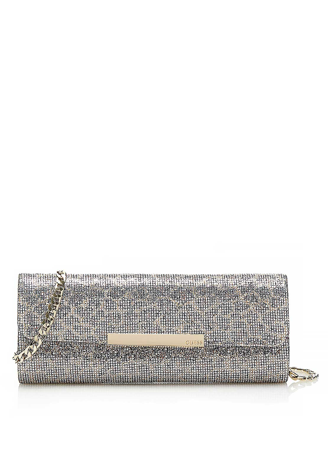 Guess Womens Famous Glitter Clutch Bag, Silver Leopard