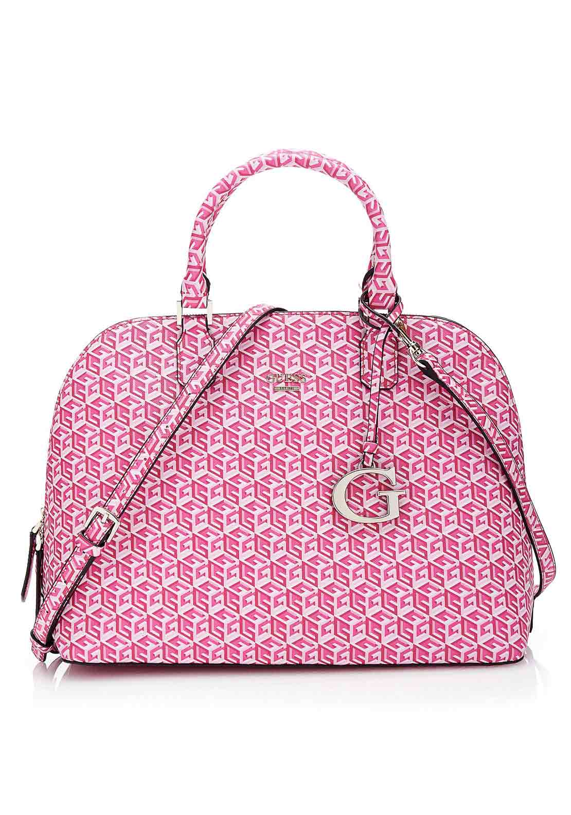 Guess Womens Cube Dome Satchel, Cherry Pink
