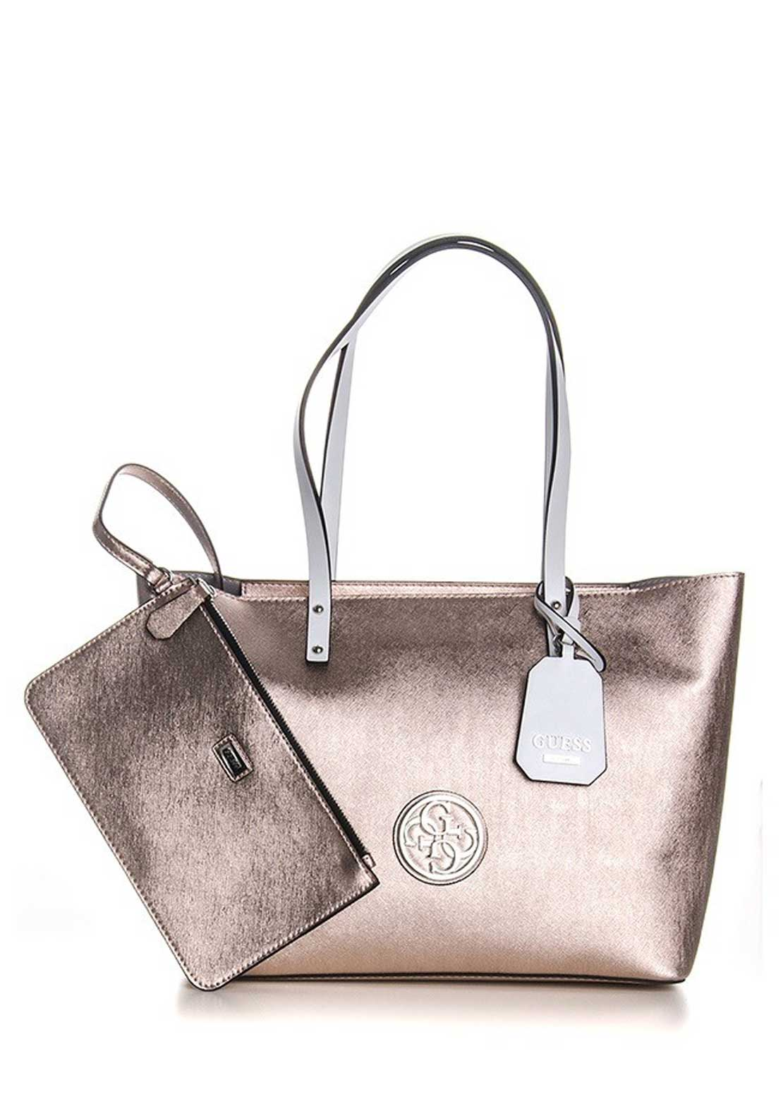Guess Womens Jolie Metallic Tote Bag and Pouch, Rose Gold