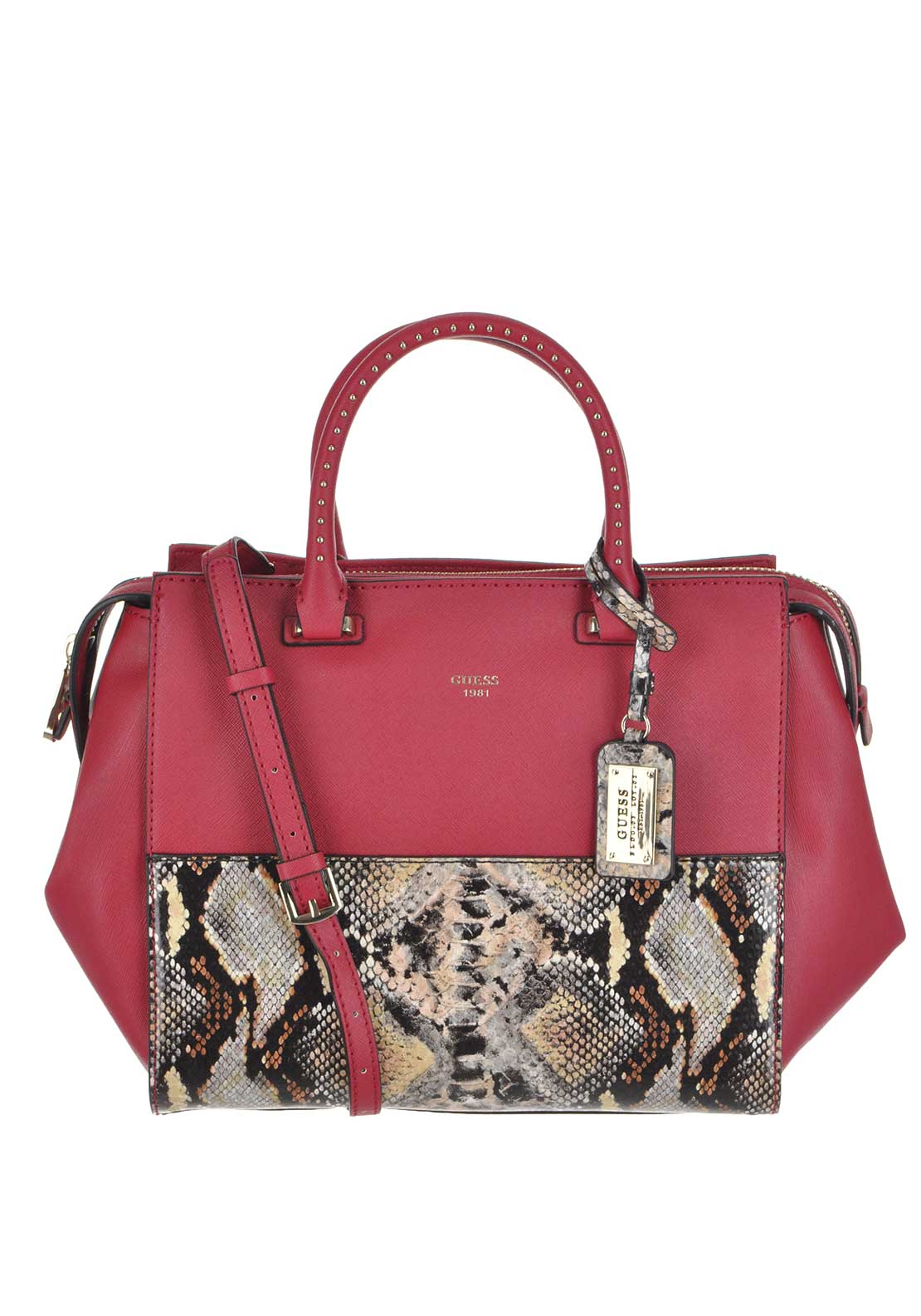 Guess Womens Faux Leather Hailey Python Grab Bag, Red