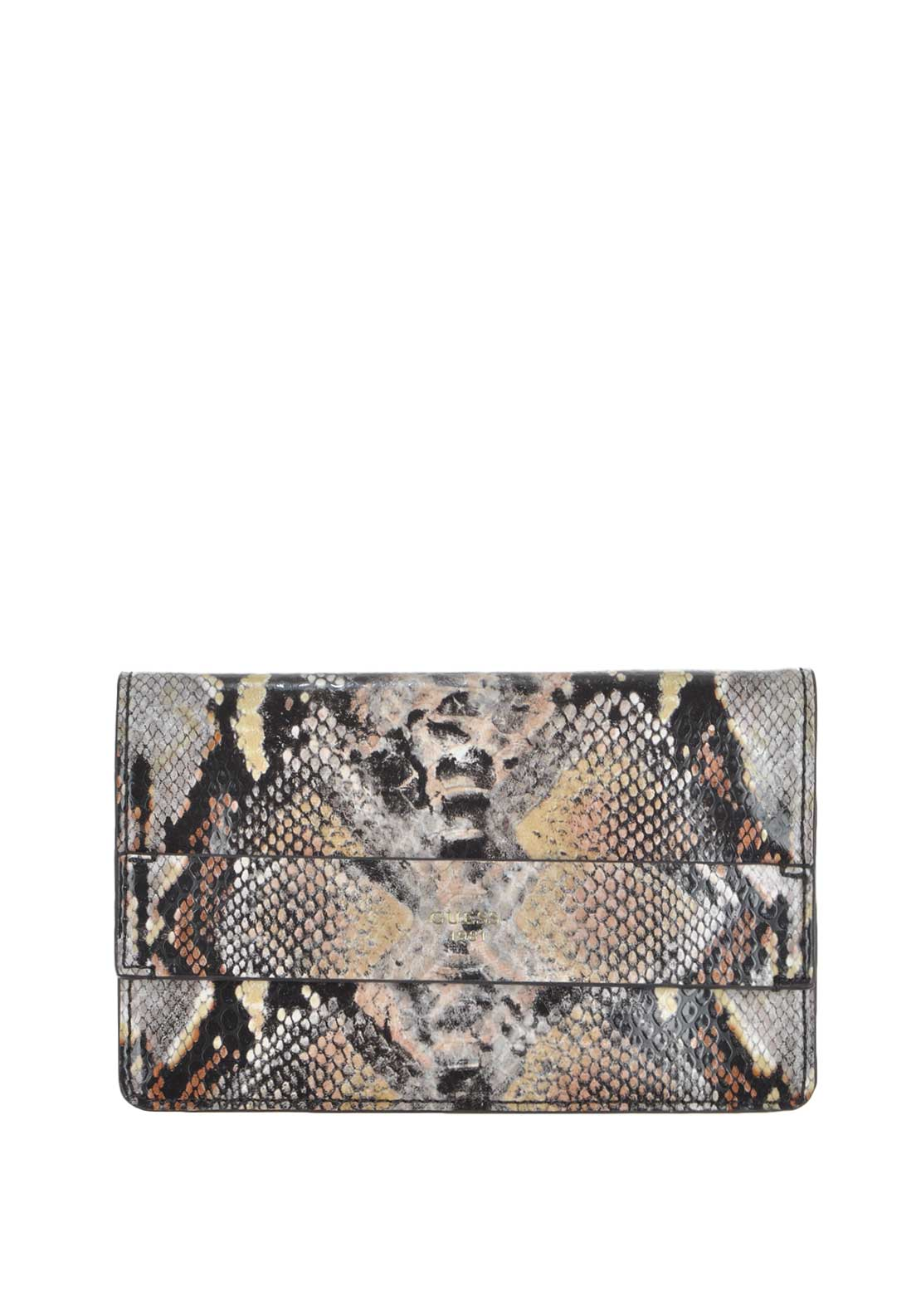 Guess Womens Hailey Faux Leather Petite Crossbody Bag, Python