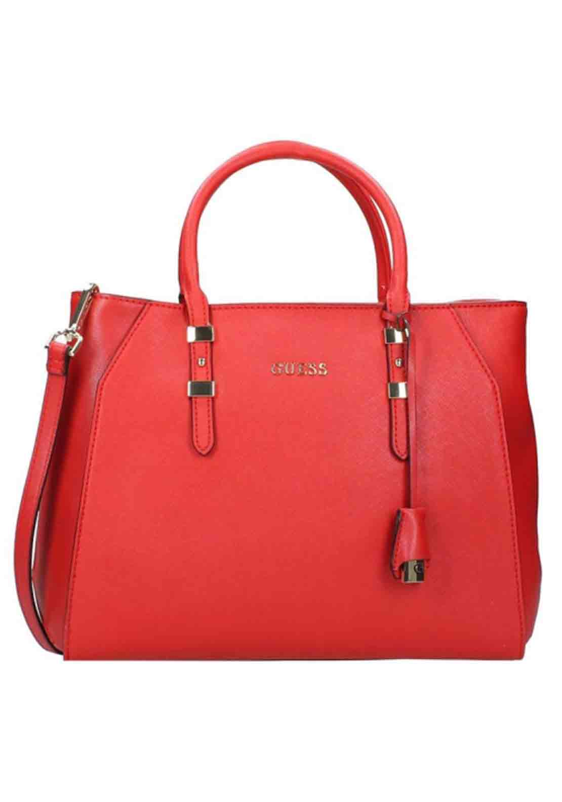 Guess Womens Sissi Satchel Bag, Red