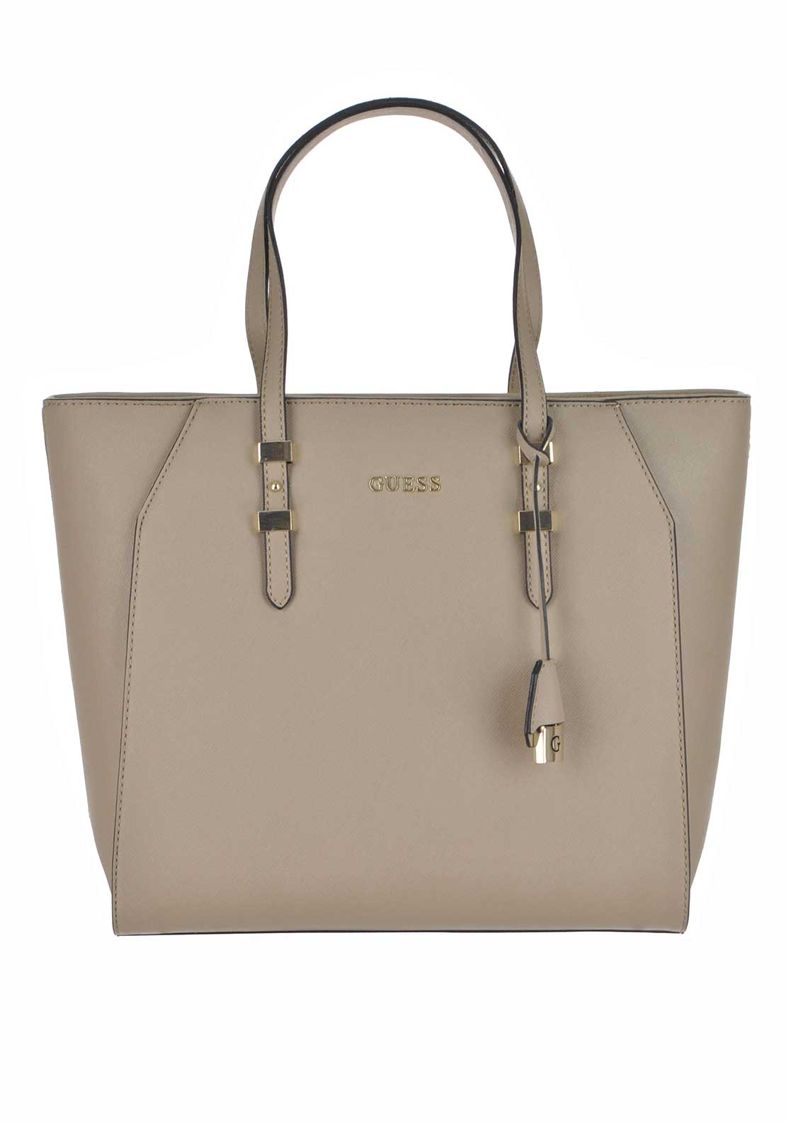 Guess Womens Faux Leather Sissi Tote Bag, Taupe