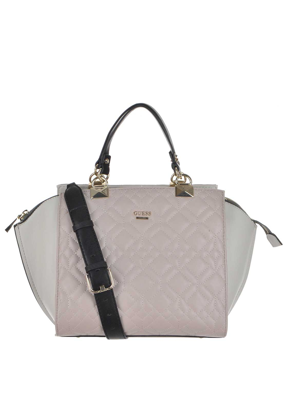 Guess Womens Faux Leather Ines Quilted Large Grab Bag, Nude