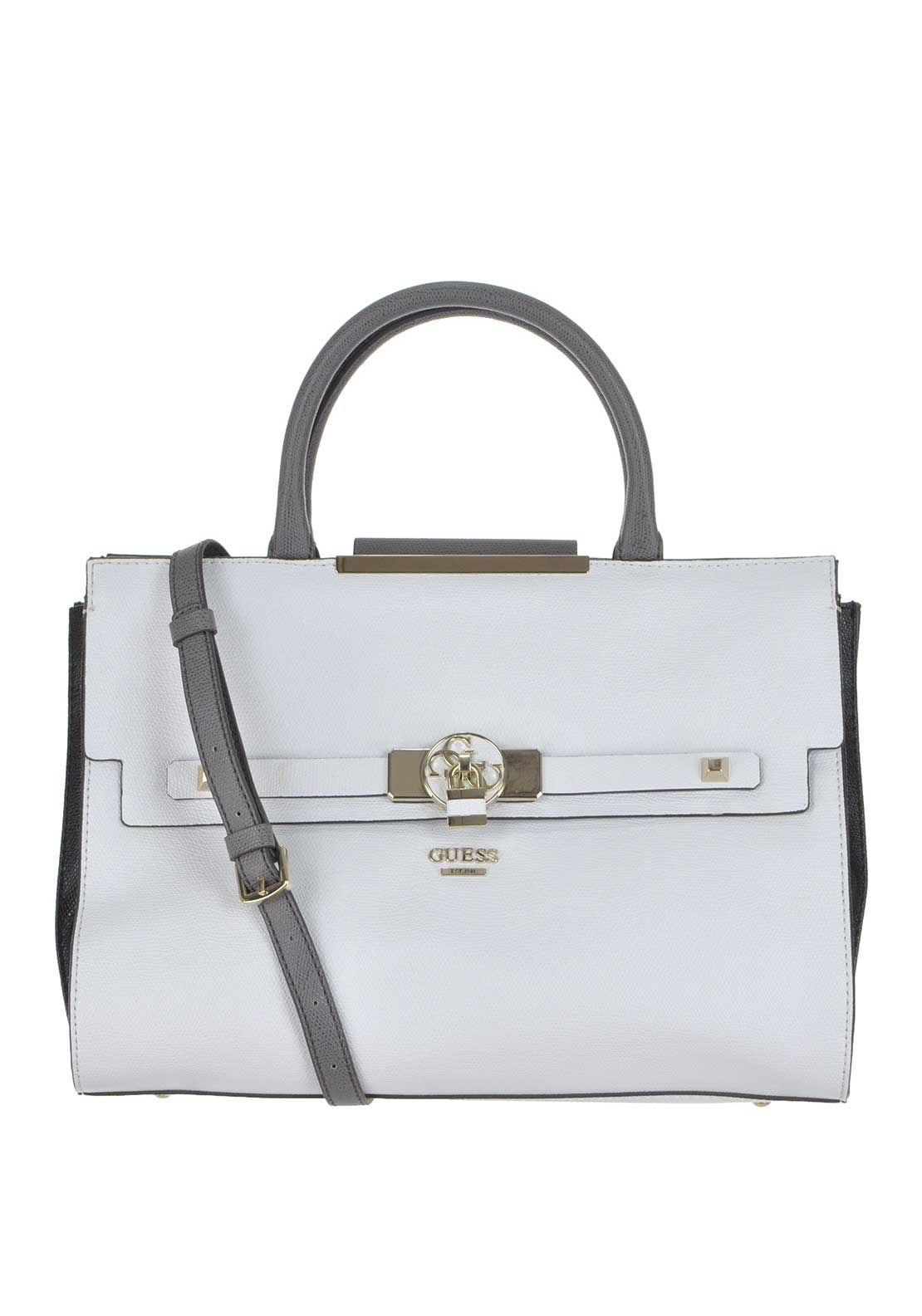 Guess Womens Faux Leather Cynthia Tote Bag, White