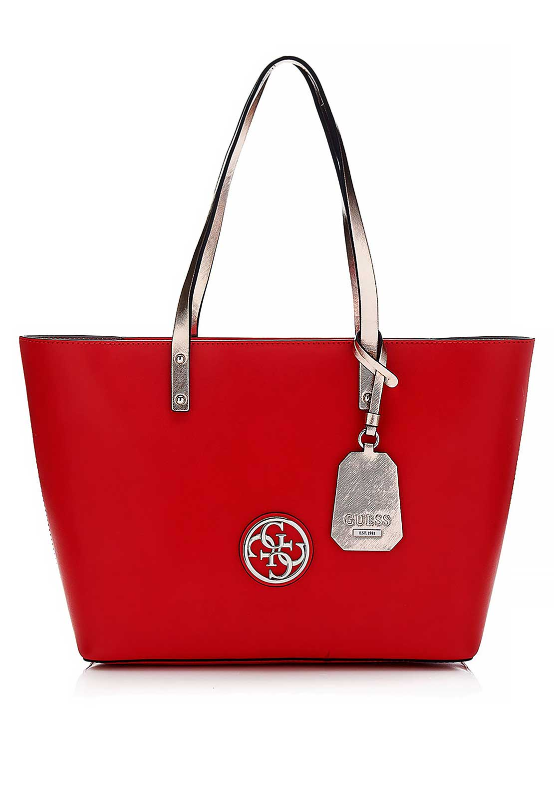 Guess Womens Jolie Tote Bag and Pouch, Lipstick Multi
