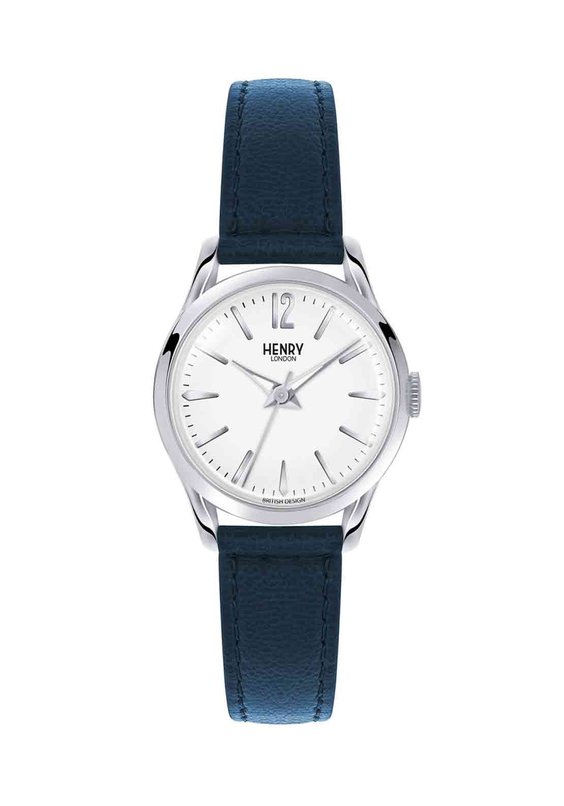 Henry London Womens Knightsbridge Slim Watch, Dark Blue