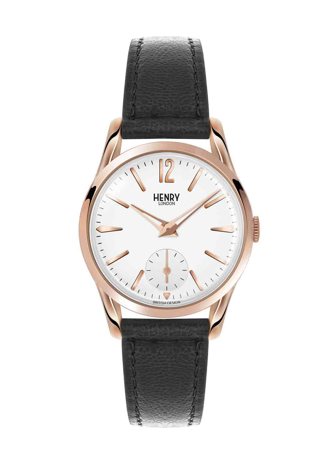 Henry London Womens Richmond Slim Watch, Black
