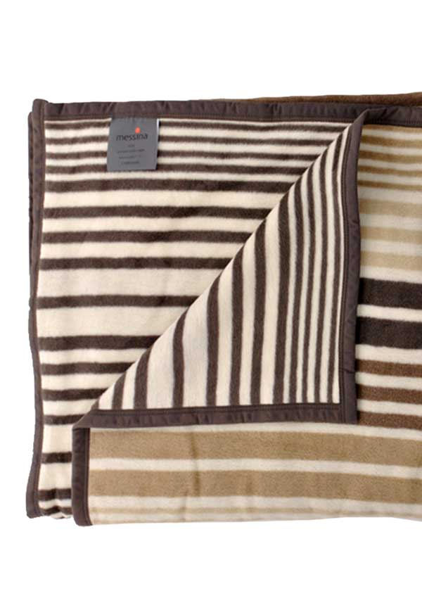 Ibena Jacquard Decke Messina Blanket, Natural Stripe