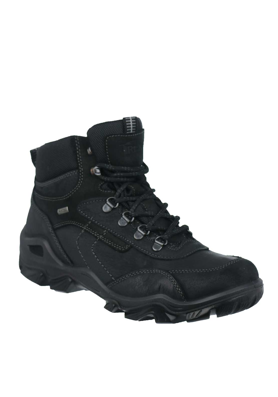 IMAC Mens Leather Mid Trek Waterproof Lace Up Comfort Fit Boots, Black
