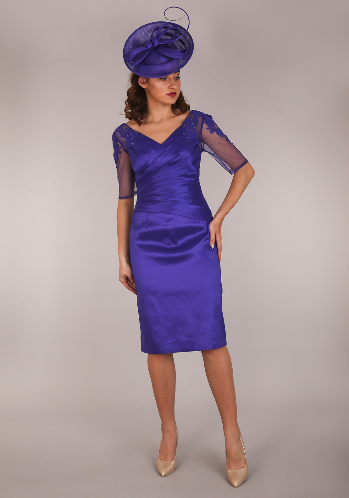 Ispirato Applique Trim Ruched Dress, Iris Purple