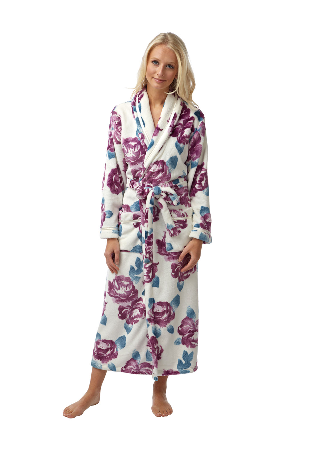 Indigo Sky Floral Print Wrap Over Terry Dressing Gown, White Multi