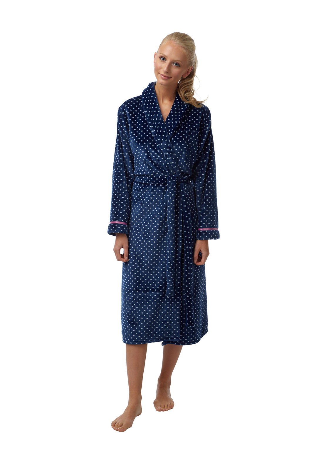 Indigo Sky Polka Dot Print Terry Dressing Gown, Navy