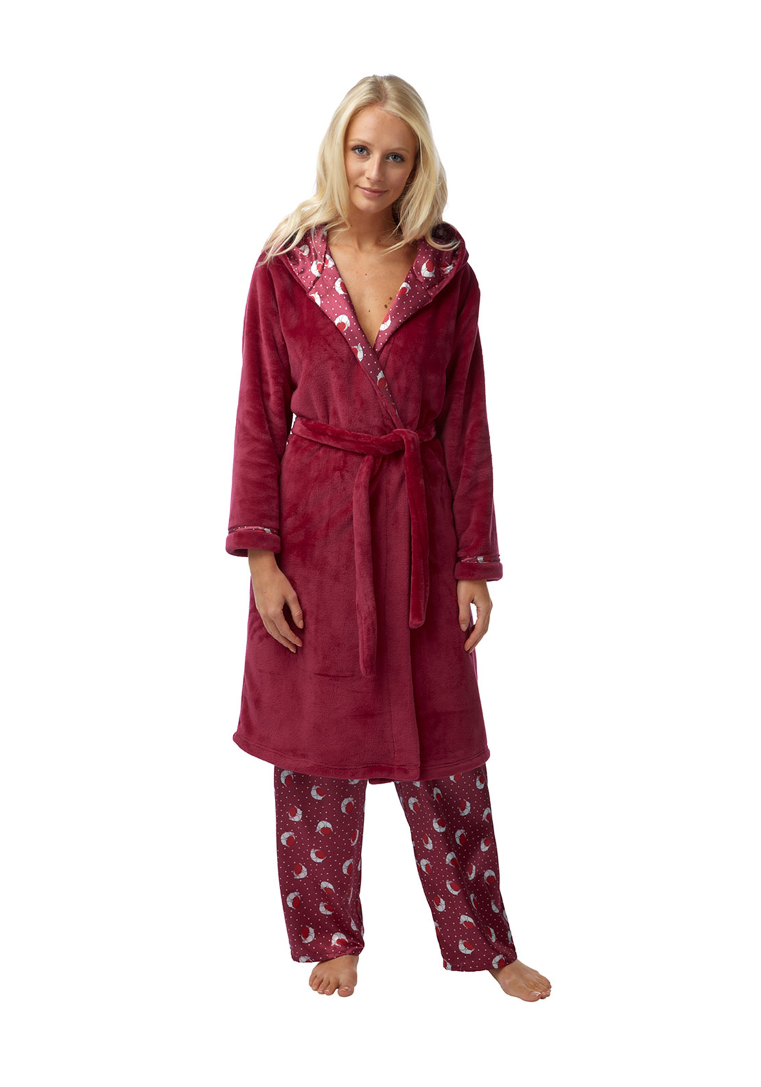 Indigo Sky Robin Print Satin Trim Terry Dressing Gown, Wine