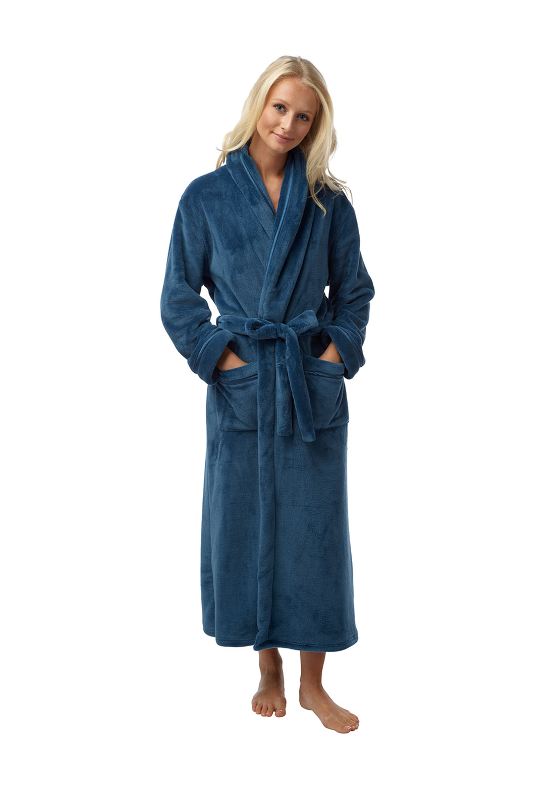 Indigo Sky Wrap Over Terry Dressing Gown, Blue